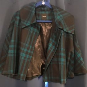 Women's plaid cropped jacket